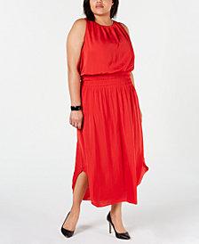Alfani Plus Size Smocked Satin Midi Dress, Created for Macy's