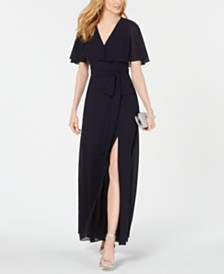 Vince Camuto Belted Capelet Gown