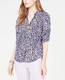 MICHAEL Michael Kors Printed Zip-Front Top, Regular & Petite