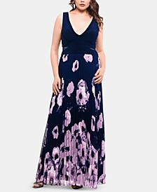 Plus Size Floral-Print Pleated Gown