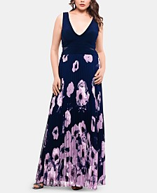 XSCAPE Plus Size Floral-Print Pleated Gown