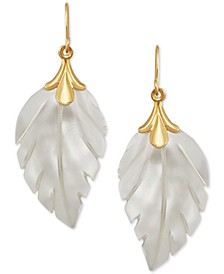 Mother-of-Pearl Leaf Drop Earrings in 10k Gold