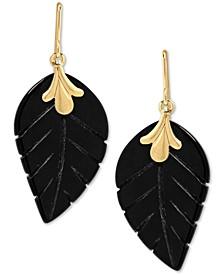 Onyx (21 x 13mm) Leaf Drop Earrings in 10k Gold