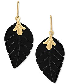 Onyx (21 x 13mm) Leaf Drop Earrings in 10k Gold