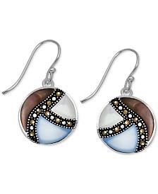 Marcasite & Shell Disc Drop Earrings in Fine Silver Plate