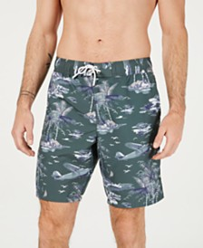 "Lacoste Men's Palm-Tree Graphic 8"" Swim Trunks"