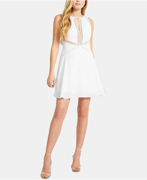 GUESS Sleeveless Crochet-Trim Fit & Flare Dress