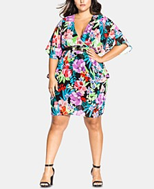 Trendy Plus Size Belted Floral-Print Dress