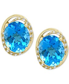 EFFY® Blue Topaz (8-1/10 ct. t.w.) & Diamond (1/8 ct. t.w.) Stud Earrings in 14k Gold