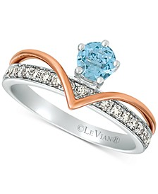Royalty Collection® Sea Blue Aquamarine (1/3 ct. t.w.) & Nude Diamonds (1/3 ct. t.w.) Statement Ring in 14k White Gold and 14k Rose Gold