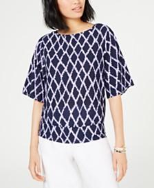 MICHAEL Michael Kors Printed Kimono-Sleeve Top