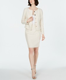 Calvin Klein Shiny Four-Button Jacket, Button-Up Camisole & Shiny Pencil Skirt