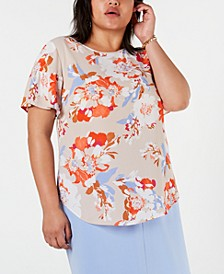 Trendy Plus Size Floral-Print Blouse, Created for Macy's