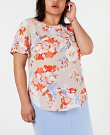 Bar III Plus Size Floral-Print Blouse, Created for Macy's