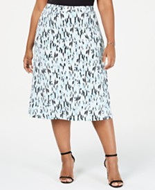 Kasper Plus Size Raindrops A-Line Skirt