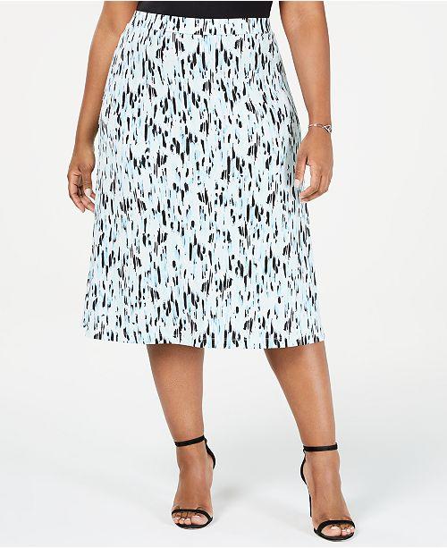Kasper Plus Size Raindrops A-Line Skirt