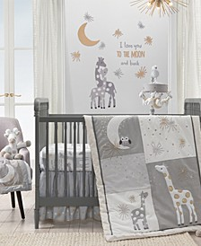 Signature Moonbeams Giraffe with Moons and Stars 3-Piece Baby Crib Bedding Set