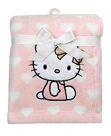 Lambs & Ivy Hello Kitty Heart Luxury Coral Fleece Baby Blanket