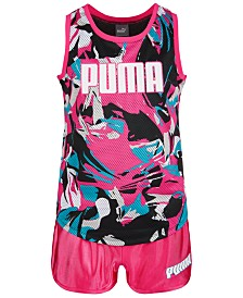 Puma Big Girls Mesh Printed Tank Top & Dazzle Fashion Shorts Separates