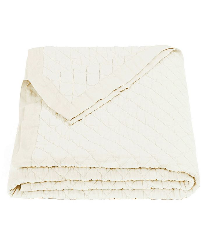 HiEnd Accents - Diamond Pattern Linen Quilt, King, in Vintage White