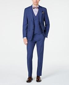 Tallia Orange Men's Slim-Fit Navy Stripe Vested Suit