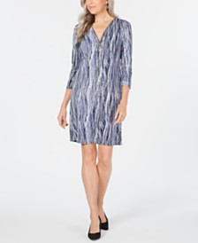 JM Collection Petite Printed Zip-Neck Dress, Created for Macy's