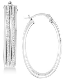 Simone I. Smith Glitter Hoop Earrings in 18k Yellow Gold Over Sterling Silver or Sterling Silver