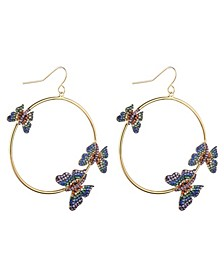 Multi-Colored Cubic Zirconia Butterfly Extra Large Hoop Earrings