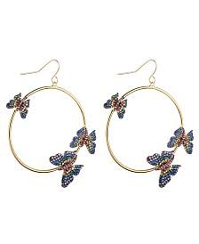 Noir Multi-Colored Cubic Zirconia Butterfly Hoop Earring