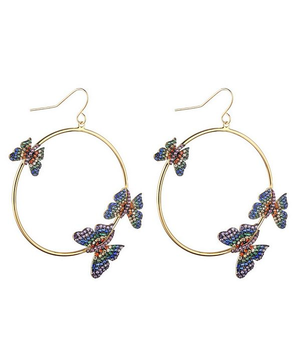nOir Multi-Colored Cubic Zirconia Butterfly Extra Large Hoop Earrings