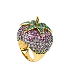 Pink Cubic Zirconia Strawberry Cocktail Ring