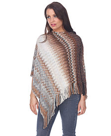 White Mark Women's Mesila Fringe Poncho