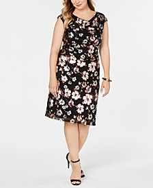 Plus Size Metallic-Print Sheath Dress