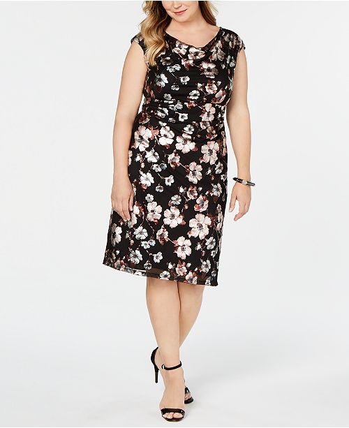 Connected Plus Size Metallic-Print Sheath Dress