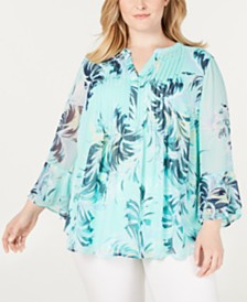 Charter Club Plus Size Printed Tiered-Ruffle Top, Created for Macy's