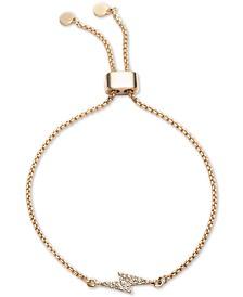 DKNY Gold-Tone Pavé Lightning Bolt Slider Bracelet