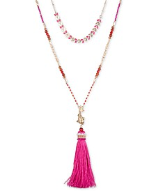 "lonna & lilly Gold-Tone Stone, Bead & Imitation Pearl Layered Tassel Pendant Necklace, 32"" + 3"" extender"