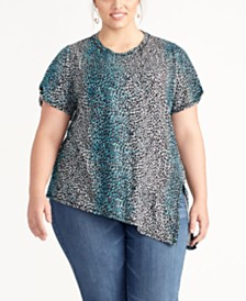 RACHEL Rachel Roy Plus Size Animal-Print Side-Slit Top