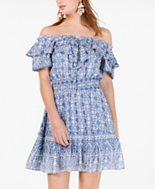 American Rag Juniors' Ruffled Off-The-Shoulder Dress, Created for Macy's