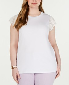 MICHAEL Michael Kors Plus Size Cotton Lace-Sleeve T-Shirt