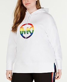 MICHAEL Michael Kors Plus Size Side-Zippered Rainbow-Logo Hoodie
