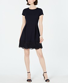 Jessica Howard Petite Lace-Edge A-Line Dress