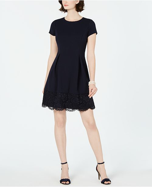 Petite Lace Edge A Line Dress