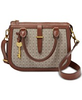 72d8d2af9 Fossil Ryder Jacquard Signature Small Leather Satchel