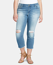 Jessica Simpson Trendy Plus Size Arrow Straight Ankle Jeans