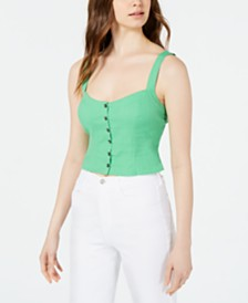 ASTR the Label Linen Crop Top