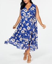 Jessica Howard Plus Size Floral-Print Surplice Maxi Dress