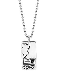 Boyz Will Be Boyz Children's Sterling Silver Train Dog Tag Necklace