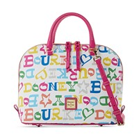 Dooney & Bourke Novelty Zip Zip Satchel (Multi Letters/White Background/Gold)