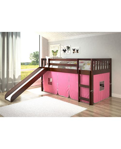 Donco Kids Twin Mission Tent Loft Bed with Slide